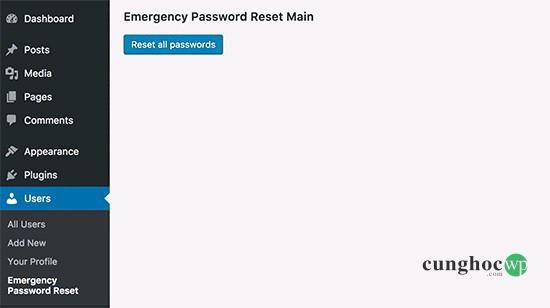 Đặt lại tất cả mật khẩu WordPress