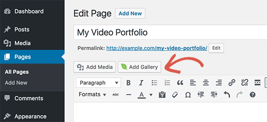 Add your video portfolio gallery
