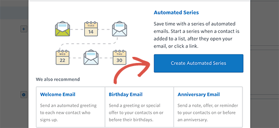 Create an automated series of welcome emails