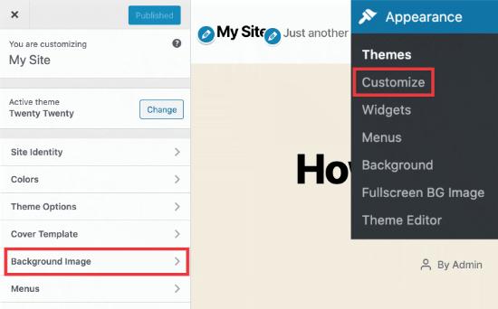 Tùy chọn hình nền trong tùy biến chủ đề WordPress