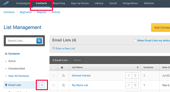 Creating new email list in Constant Contact