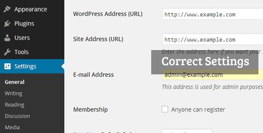 Cài đặt URL WordPress chính xác