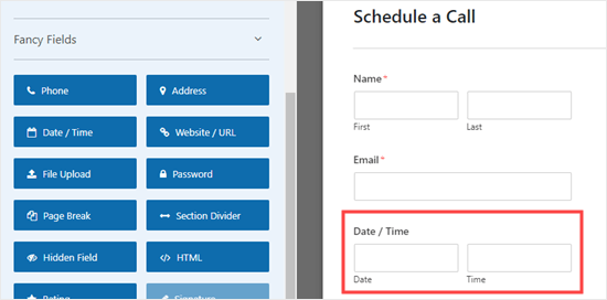 The Date/Time field added to the form