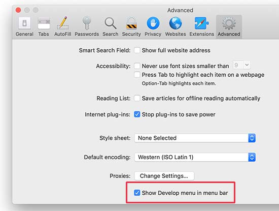 Bật menu Phát triển trong Safari