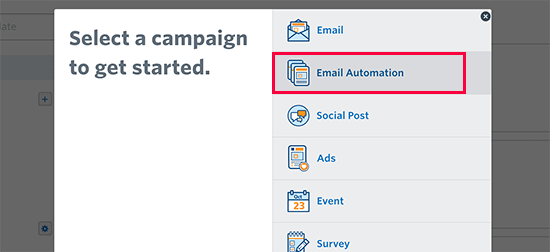 Select email automation campaign