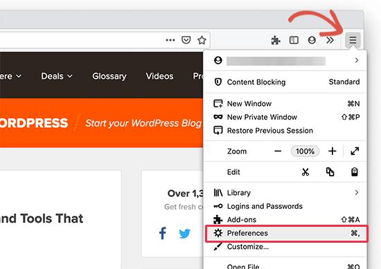 Tùy chọn Firefox