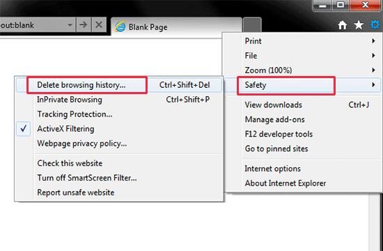 Xóa dữ liệu duyệt web trong Internet Explorer