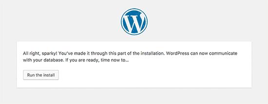 Cơ sở dữ liệu WordPress được kết nối