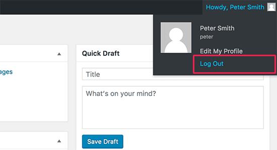 Đăng xuất liên kết trong thanh quản trị WordPress