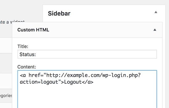 Đăng xuất tiện ích HTML