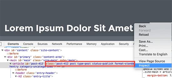 Các lớp CSS mặc định cho bài đăng WordPress