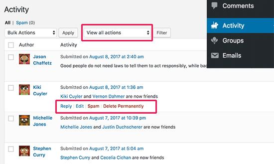 Quản lý hoạt động của người dùng trong BuddyPress
