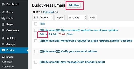 Chỉnh sửa thông báo email trong BuddyPress