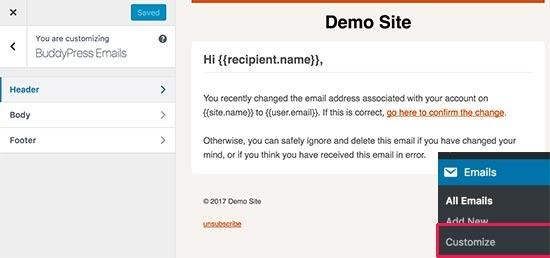 Tùy chỉnh email