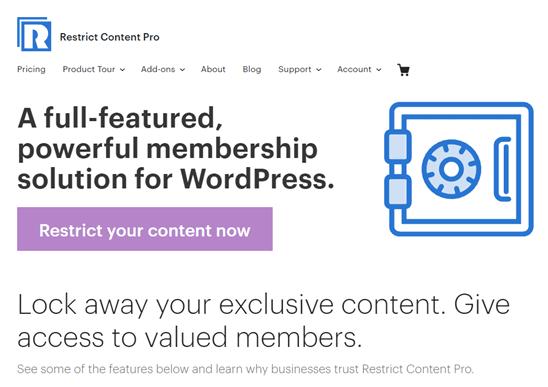 Trang web Restrict Content Pro