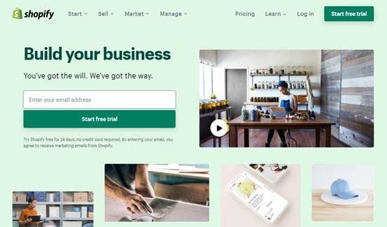 Trang web Shopify