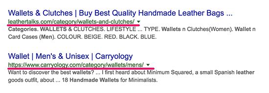 Các trang danh mục xuất hiện trong kết quả tìm kiếm