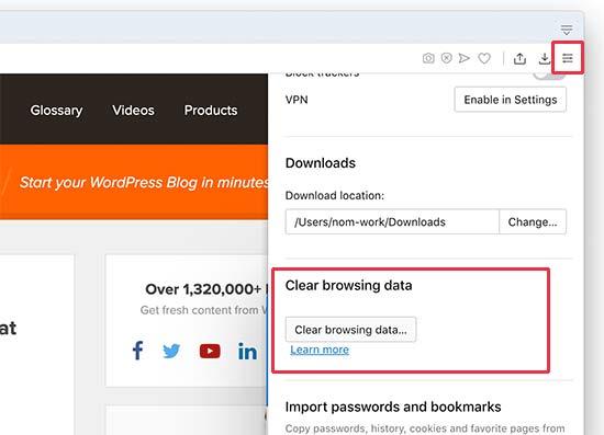 Opera xóa dữ liệu duyệt web