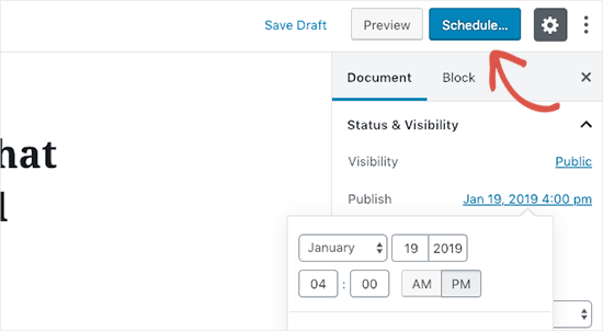 Publish button changed into Schedule