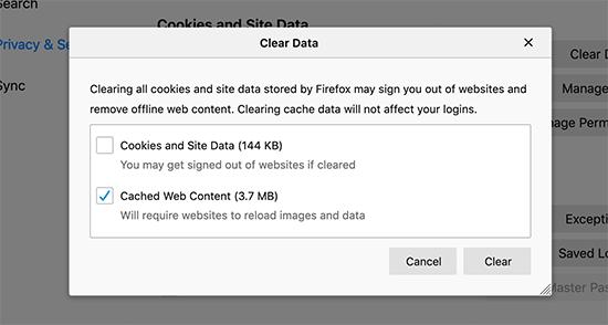 Xóa nội dung được lưu trong bộ nhớ cache trong Firefox