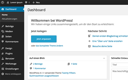 WordPress in German