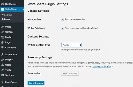 WriteShare settings page