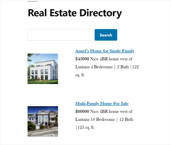 Real Estate Web Directory Demo