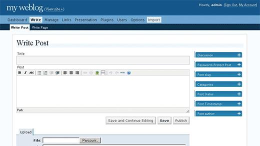 WordPress 2.0 - Giao diện quản trị viên