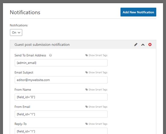 Thiết lập email thông báo về bài đăng của khách trong WPForms