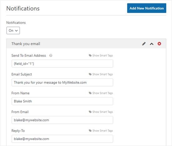 Chi tiết cho email cảm ơn. Tiêu đề email có nội dung 'Cảm ơn bạn đã gửi tin nhắn đến MyWebsite.com', Tên người gửi là 'Blake Smith', Email Người gửi là 'blake@mywebsite.com' và Trả lời đến là 'blake@mywebsite.com'