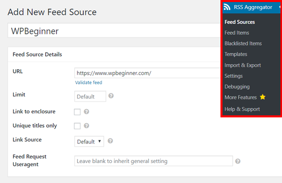 Thêm nguồn cấp dữ liệu mới trong WP RSS Aggregator
