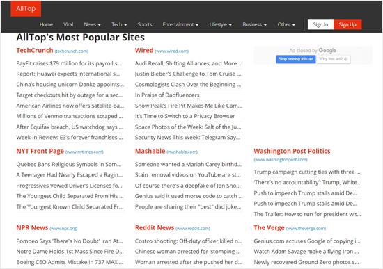 Trang web tổng hợp tin tức hàng đầu của AllTop