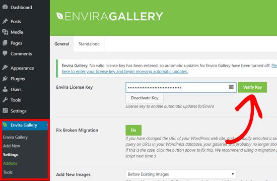 Nhập Khóa cấp phép Thư viện Envira