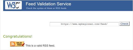 Dịch vụ xác thực nguồn cấp dữ liệu RSS