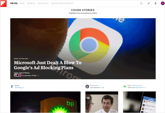 Trang web tổng hợp blog Flipboard