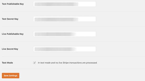 Các phím sọc trong WPForms
