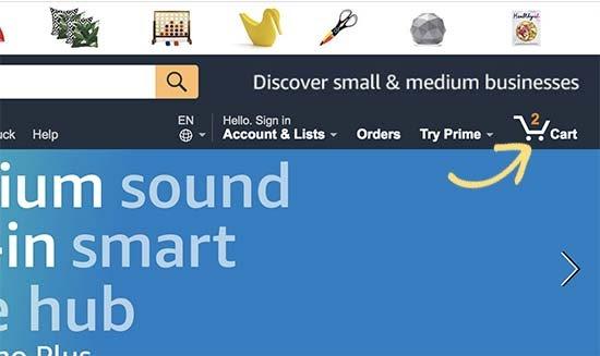 Amazon.com hiển thị biểu tượng giỏ hàng