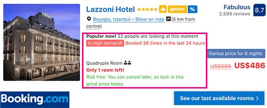 Booking.com sử dụng sự khan hiếm và khẩn cấp
