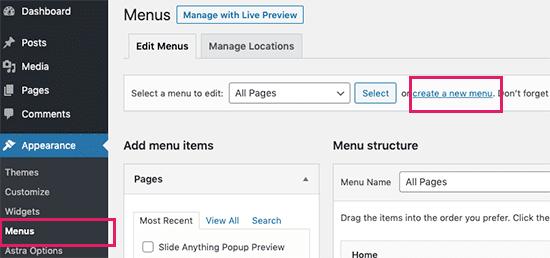 Tạo menu tùy chỉnh mới trong WordPress