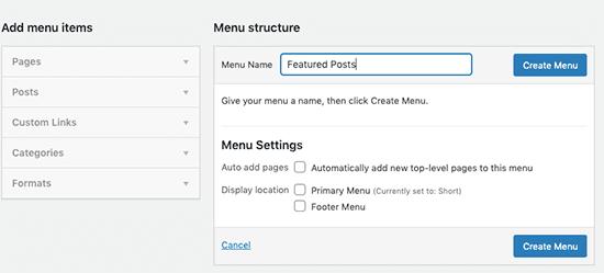 Nhập tên menu mới của bạn