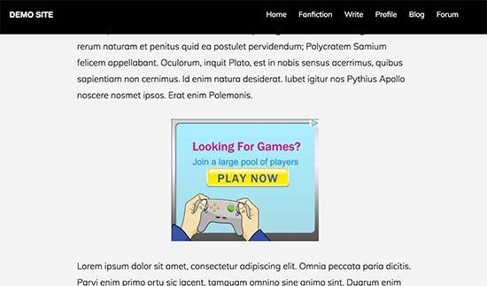 Quảng cáo được hiển thị bên trong một bài đăng WordPress