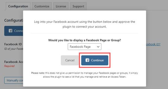 Tiếp tục kết nối Facebook Feed Pro với Facebook