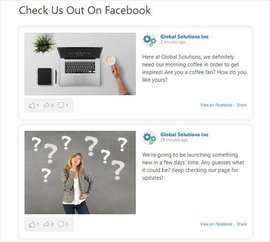 Dòng thời gian trang Facebook của chúng tôi hiển thị trên trang WordPress của chúng tôi