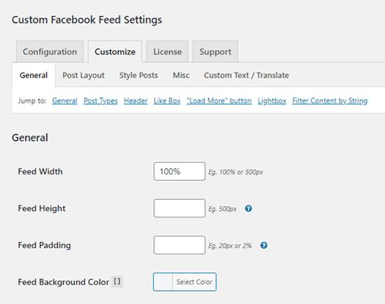 Các tùy chọn Tùy chỉnh cho plugin Nguồn cấp Facebook tùy chỉnh