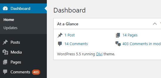 Số lượng nhận xét đang chờ xử lý hiển thị trong thanh bên quản trị WordPress và trên trang tổng quan
