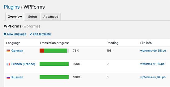 Lựa chọn ngôn ngữ trong Loco Translate