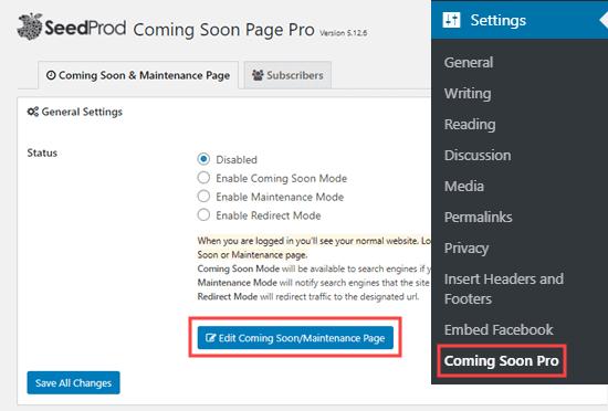 Chỉnh sửa trang sắp có / bảo trì trong SeedProd