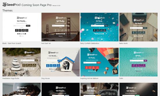 Chọn một mẫu cho trang sắp ra mắt của bạn trong SeedProd