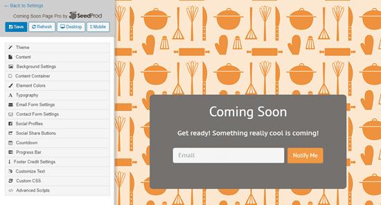 Mẫu 'Mẫu nhà bếp' của SeedProd