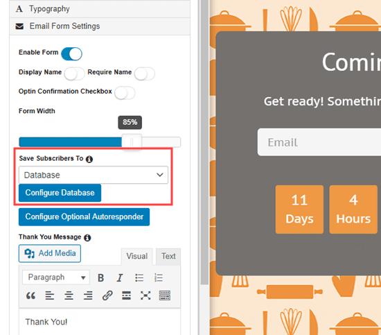 Chọn dịch vụ email của bạn từ menu thả xuống trong trình tạo trang sắp ra mắt của SeedProd